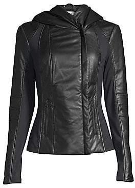 Blanc Noir Women's Hooded Leather Jacket