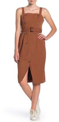 Dress Forum Pinstripe Button Front Belted Midi Dress