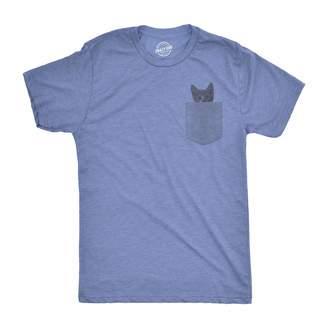 Crazy Dog T-shirts Crazy Dog Tshirts Mens Pocket Cat T shirt Funny Printed Peeking Kitten T shirt (Grey)