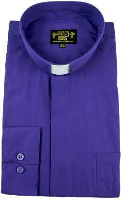 "Mercy Robes Mens Long Sleeve Standard Cuff Tab Collar Clergy Shirt (17.5"" Neck 36/37 Sleeve, )"