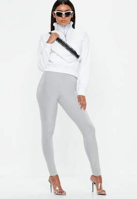 Missguided Silver Disco Highwaisted Panel Leggings