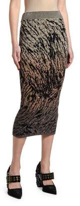 Antonio Marras Tiger-Print Knit Slim Skirt