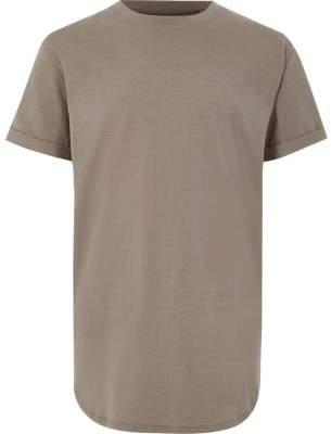 River Island Boys khaki curved hem T-shirt