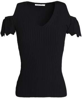 Maje Cold-Shoulder Ribbed-Knit Top