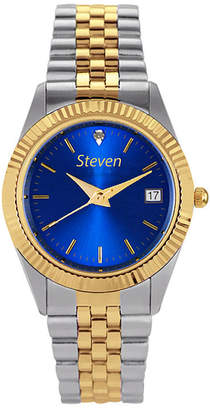 HAMPDEN Hampden Mens Diamond Accent Two-Tone Blue Dial Personalized Watch