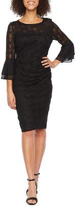Jackie Jon 3/4 Bell Sleeve Lace Sheath Dress