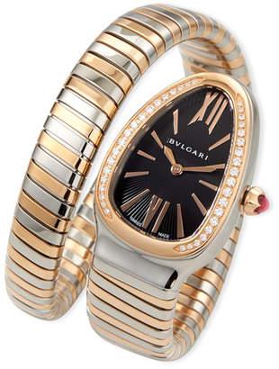 Bvlgari 35mm Serpenti Tubogas Diamond Watch, Two-Tone/Black