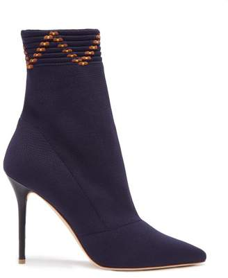 Malone Souliers Mariah Knitted Sock Ankle Boots - Womens - Navy Multi