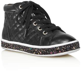 Steve Madden Girls' Glitter-Sole High Top Sneakers