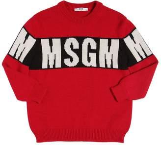 MSGM Logo Intarsia Rib Knit Sweater