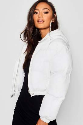 boohoo Petite Hooded Crop Padded Coat