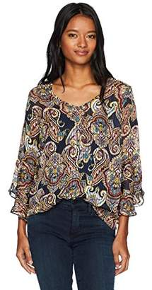 Amy Byer A. Byer Printed Bell Sleeve V-Neck Top (Junior's)