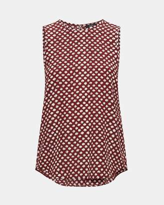 Theory Silk Dot Print Sleeveless Top
