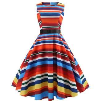 504434f036a5e Christmas Dress Women Vintage 50s Rockabilly Dress Rainbow Stripe Retro  Cocktail Party Hepburn Dress(,