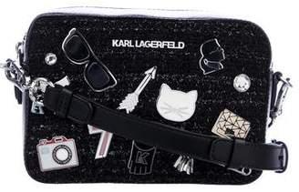 Karl Lagerfeld Embellished Leather-Trimmed Crossbody Bag