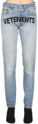 Vetements Levi's Slim Fit Logo Printed Denim Jeans