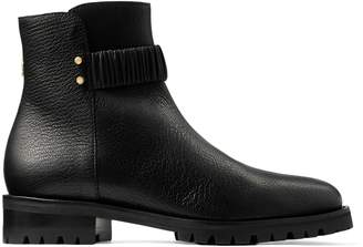 Jimmy Choo HOLST FLAT Black Grainy Leather Flat Combat Ankle Boot