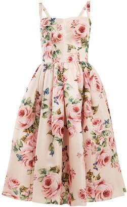 Dolce & Gabbana Rose-print silk organza dress