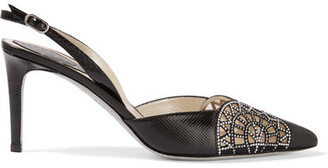 René Caovilla - Crystal-embellished Karung Pumps - Black $1,100 thestylecure.com