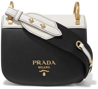 Prada Pionnière Two-tone Leather Shoulder Bag - Black