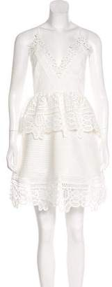 Self-Portrait Lace-Trimmed Mini Dress