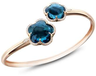 Pasquale Bruni 18K Rose Gold Bon Ton London Blue Topaz & Diamond Floral Bangle