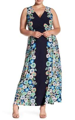 London Times Floral Sleeveless Maxi Dress (Plus Size)