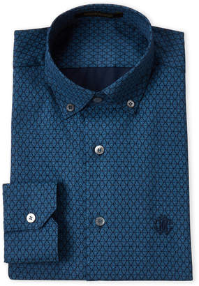 Roberto Cavalli Navy Fancy Diamond Dress Shirt