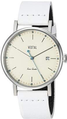 Vestal 'Sophisticate 36' Swiss Quartz Stainless Steel and Leather Dress Watch