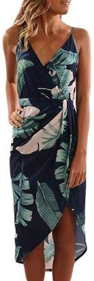 MuCoo Women's Sexy Strap Backless Casual V-Neck Summer Beach Floral Midi Dress Sundress M
