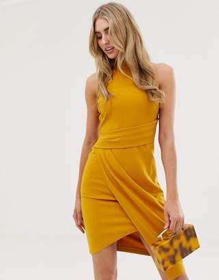 Lipsy halterneck bodycon dress in mustard