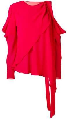 La Mania cut-out shoulder blouse
