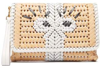 Anya Hindmarch The Neeson Leather And Straw Clutch - Womens - White Multi