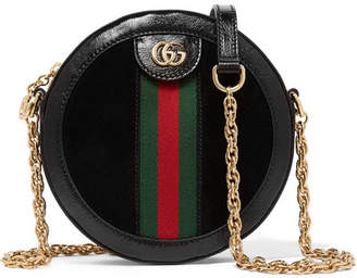 Gucci Ophidia Mini Patent Leather-trimmed Suede Shoulder Bag - Black