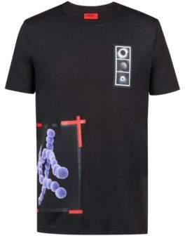 HUGO Boss Relaxed-fit T-shirt in cotton embossed print S Black