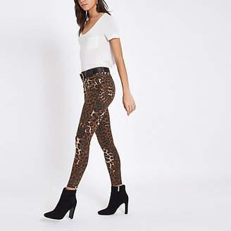 River Island Brown leopard print denim Amelie skinny jeans
