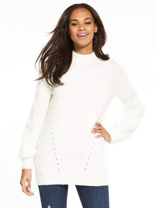 Very Balloon Sleeve Fluffy Rib Tunic