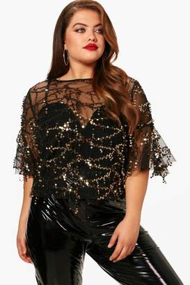 boohoo Plus Sequin Shell Top