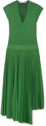 Agnona Asymmetric Pleated Silk And Cotton-blend Dress - Green