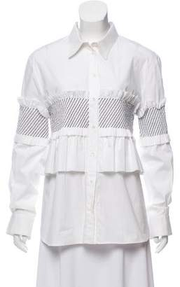 Cédric Charlier Ruffle-Trimmed Button-Up Top