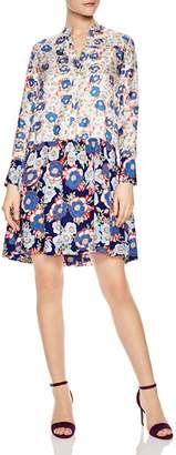Sandro Kimberly Mixed Floral Print Silk Dress