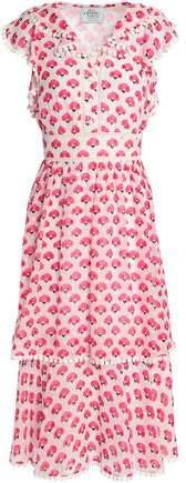 Madison Ave Carnation Fil Coupé Silk Midi Dress