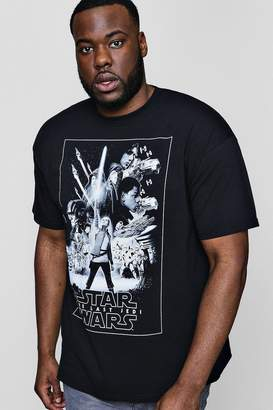 boohoo Big And Tall Star Wars Mono Poster License T-Shirt