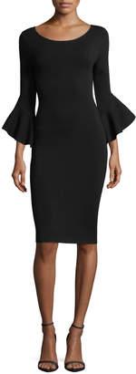 Milly Contrast Draped Bell-Sleeve Sheath Dress