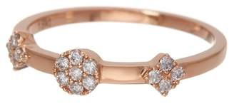 Bony Levy 18K Rose Gold Three Geo Station Stackable Ring - 0.14 ctw