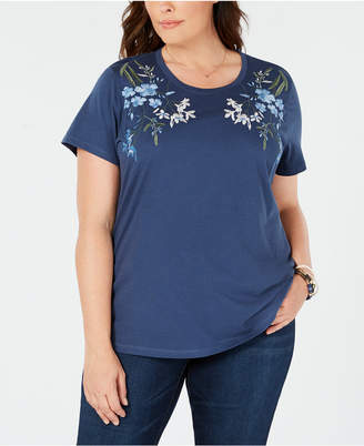 Style&Co. Style & Co Plus Size Cotton Embroidered T-Shirt