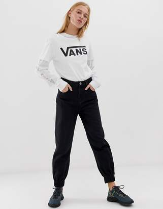 f27aae0cae Asos Design DESIGN Slouch denim track pant in washed black with elasticated  cuff