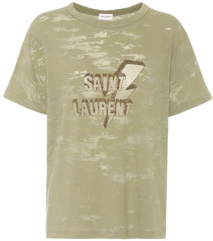 Saint Laurent Printed devore jersey T-shirt