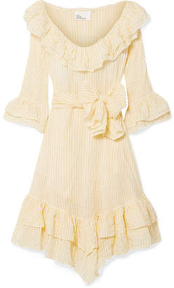 Lisa Marie Fernandez Laura Ruffled Striped Crinkled Cotton-voile Dress - Pastel yellow