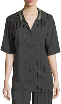 Alexander Wang Striped Short-Sleeve Pajama Shirt